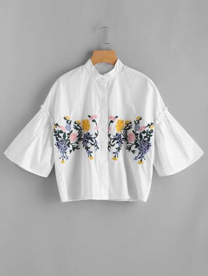 Band Collar Drop Shoulder Seam Embroidery Blouse
