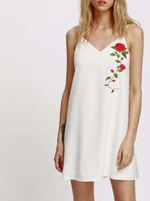 Embroidered Rose Applique Drawstring Cami Dress
