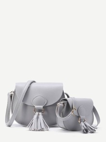 Tassel Detail Flap Combination Bag