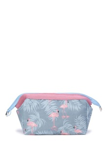 Cranes Print Make Up Bag