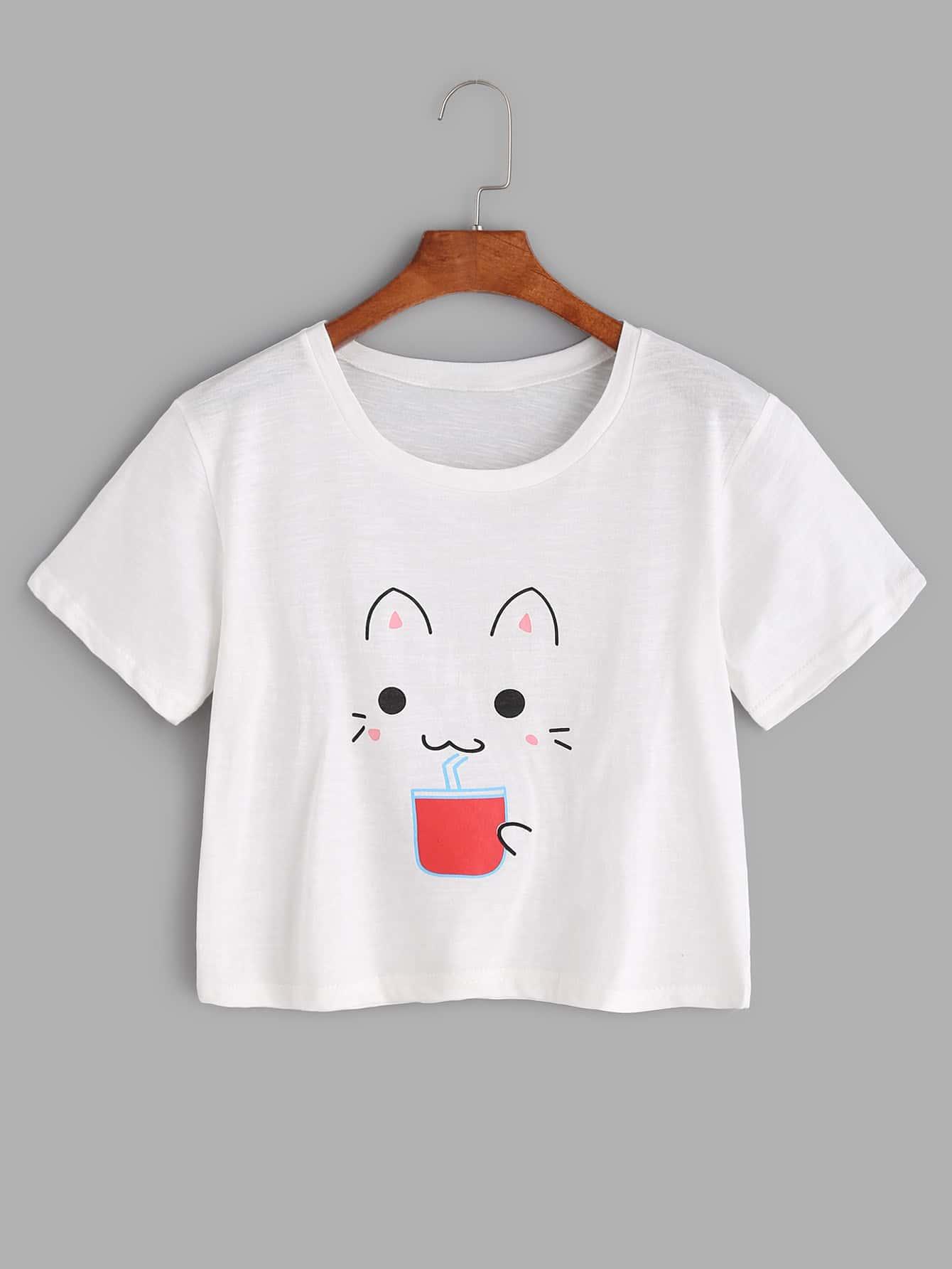 Cat Print Crop Tee