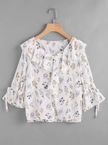 Calico Print Frill Trim Tie Cuff Top