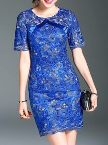 Blue Gauze Flowers Embroidered Dress