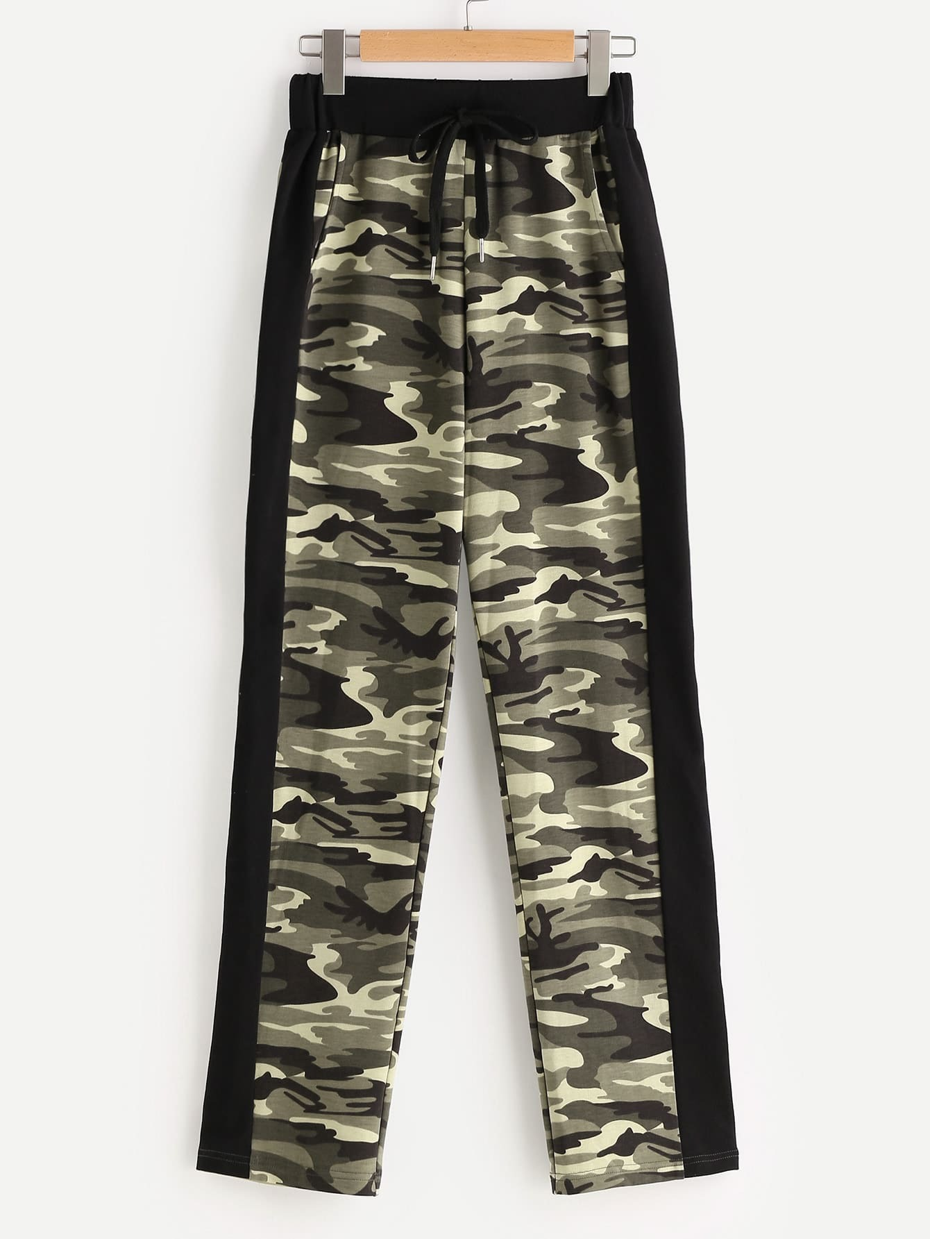 Olive Green Camo Print Contrast Panel Drawstring Sweatpants