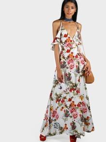 Maxi Ruffle Wrap Print Dress WHITE