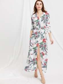 Floral Print Self Tie Shirt Dress
