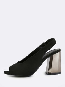 Open Toe Chunky Gunmetal Heel BLACK