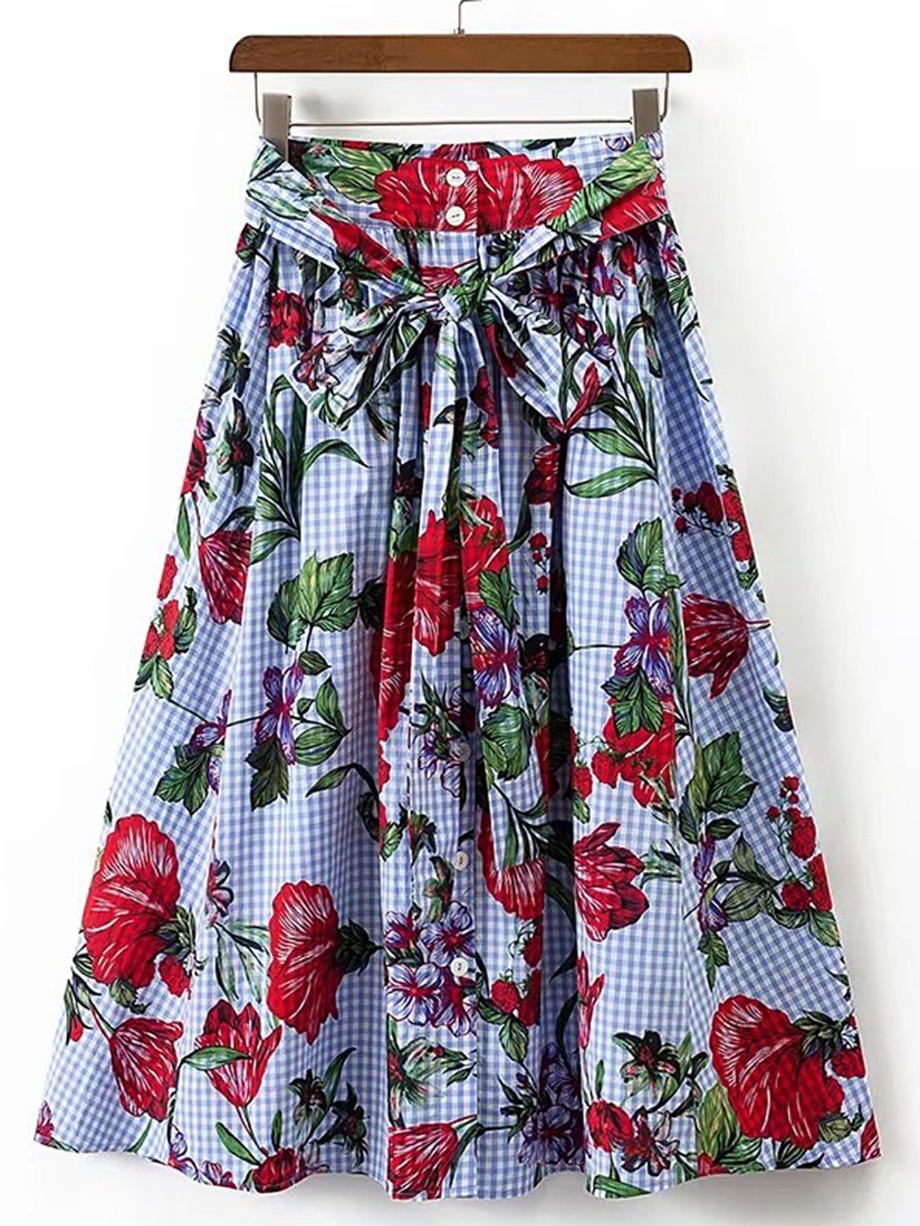 Tie Waist Grid A Line Skirt skirt170501201