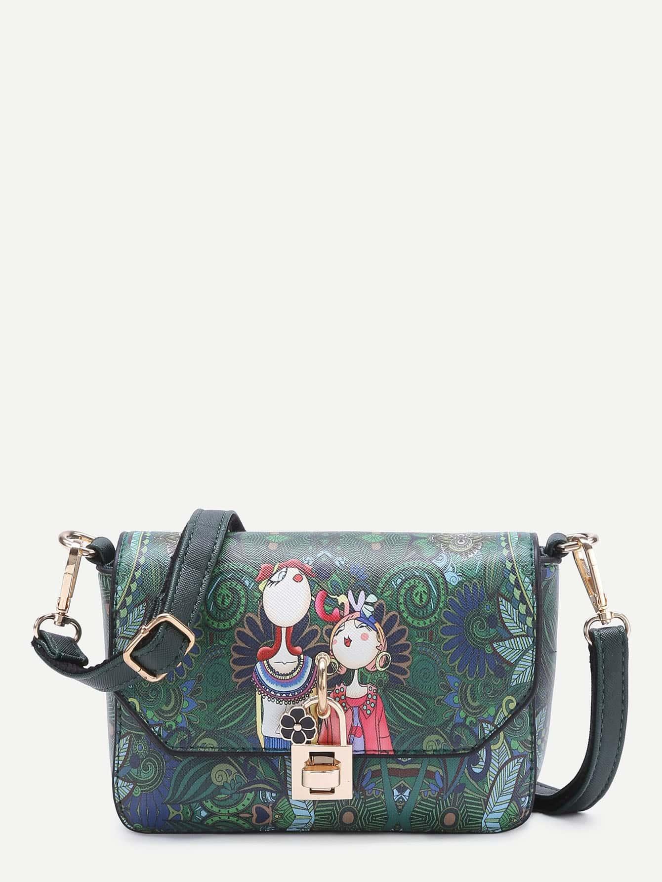 Flower Detail Cartoon Print PU Crossbody Bag -SheIn(Sheinside)