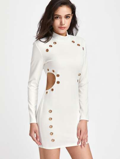 Band Collar Cut Out Side Dress With Eyelet Detail