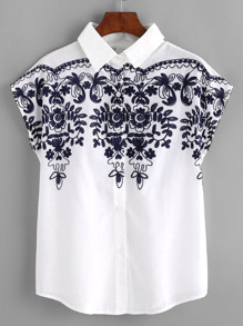 Batwing Sleeve Embroidered Yoke Blouse