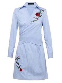 Surplice Front Pinstripe Tie Back Wrap Dress