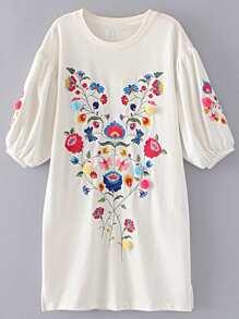 Vestido holgado de mangas farol con bordado de flor