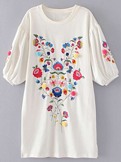 Lantern Sleeve Flower Embroidery Shift Dress