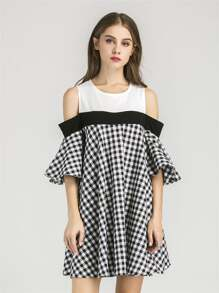Open Shoulder Contrast Gingham Bell Sleeve Dress