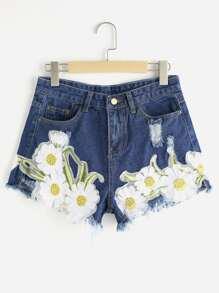 Pantaloncini di jeans strappati con appliques di Girasole