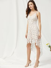 Lace Overlay Dip Hem Slip Dress