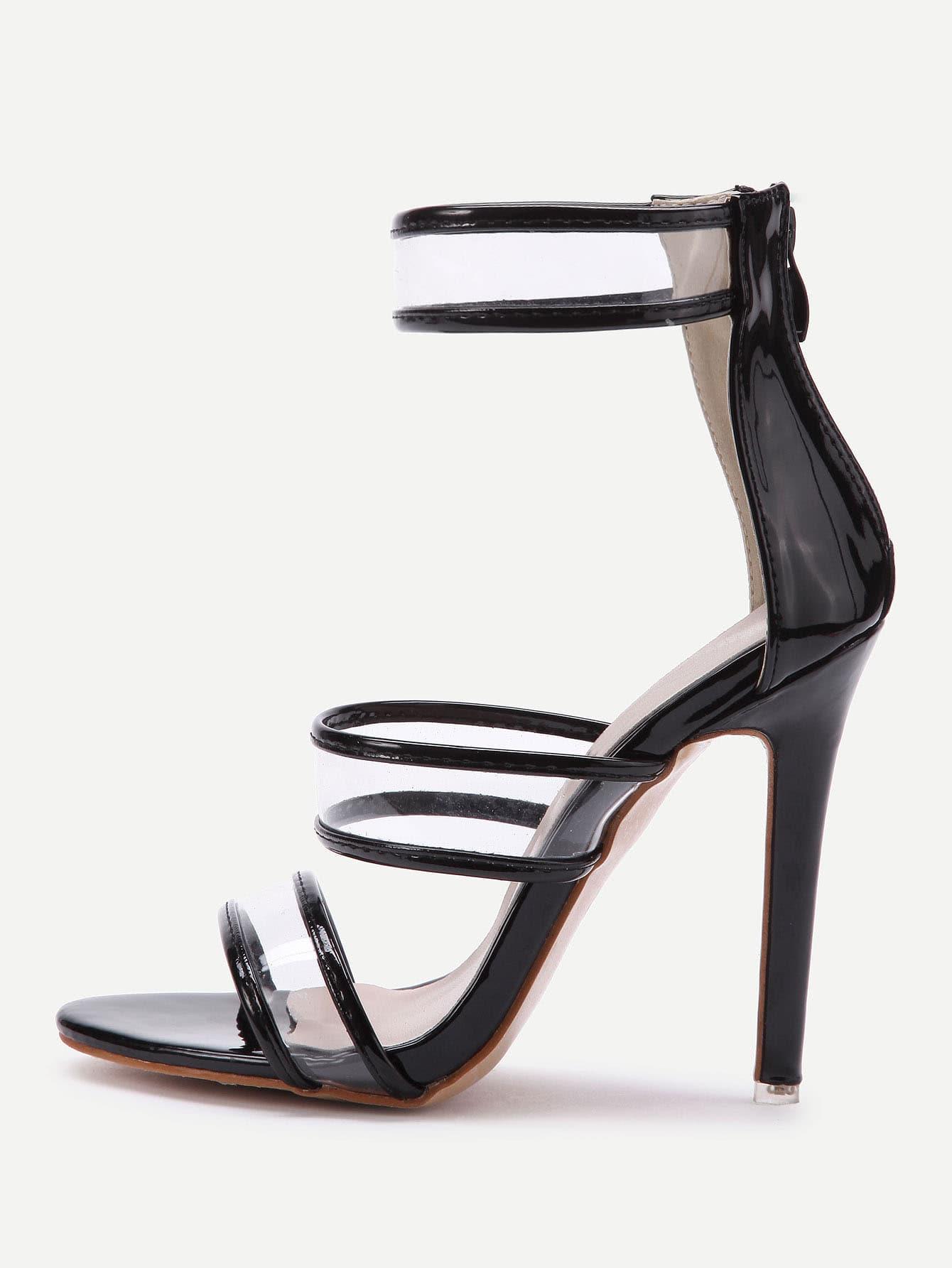 Фото Clear Detail Stiletto Sandals With Zipper Back. Купить с доставкой