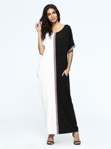 Vestido Maxi con cinta tejida de color combinado