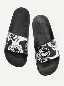 Sandales à fond plat imprimé des fleurs