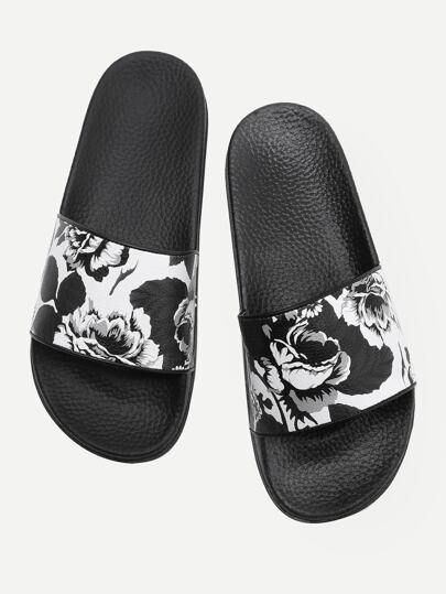 Flower Print Flat Sliders