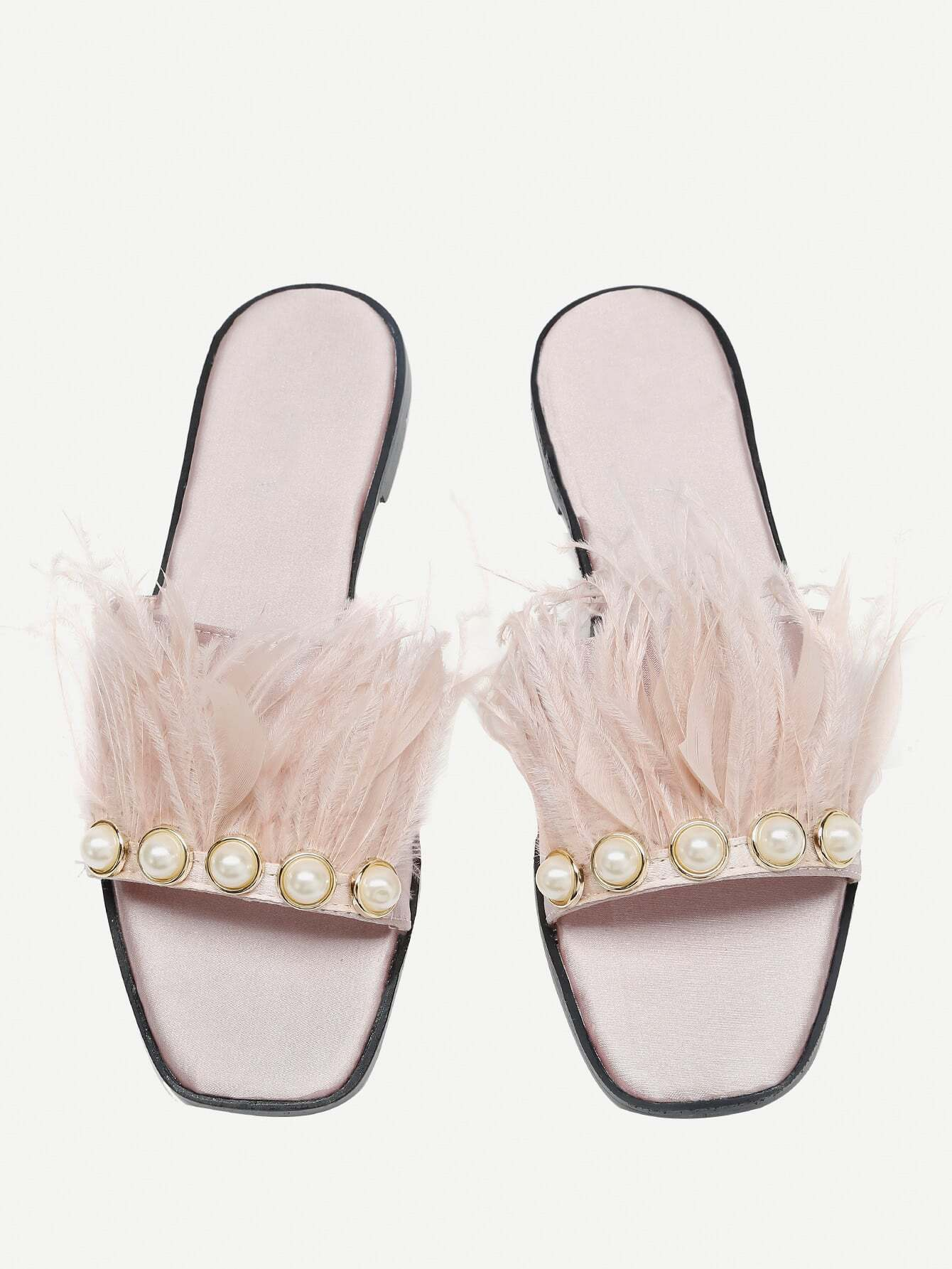 Фото Faux Pearl And Fur Decorated Slides. Купить с доставкой