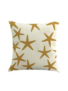 Starfish Print Linen Pillowcase Cover