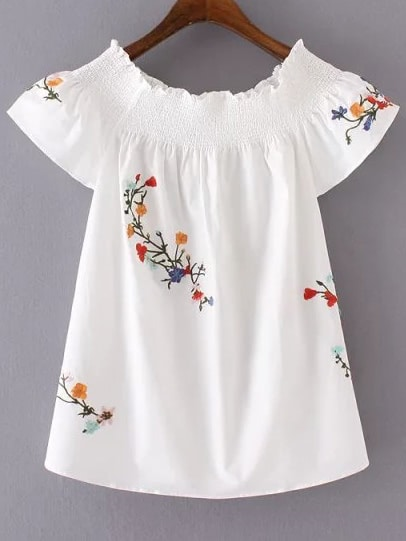Boat Neckline Flower Embroidered Blouse соус чили hom d sriracha chilli sauce шрирача 500 мл page 9