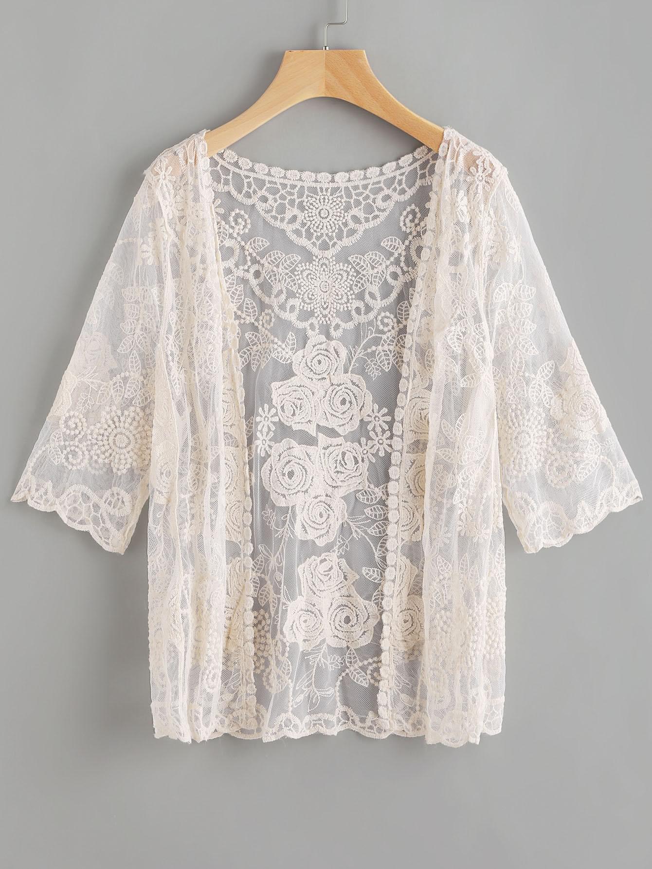 Scallop Sleeve Embroidered Lace Kimono