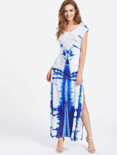 Tie Dye Slit Side Maxi Dress