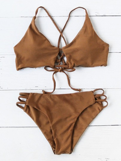 Ladder Cutout Tie Back Bikini Set