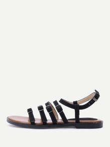 Sandales à fond plat avec agrafe de courroie et un lacet