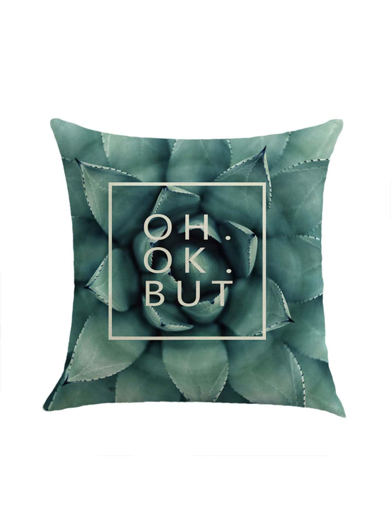 Фото Plant And Letter Print Pillowcase Cover. Купить с доставкой