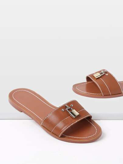 Faux Leather Lock Detail Sliders