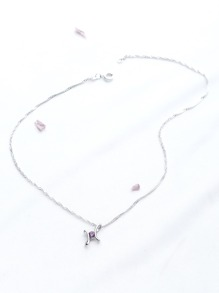 Contrast Rhinestone Pendant Delicate Necklace