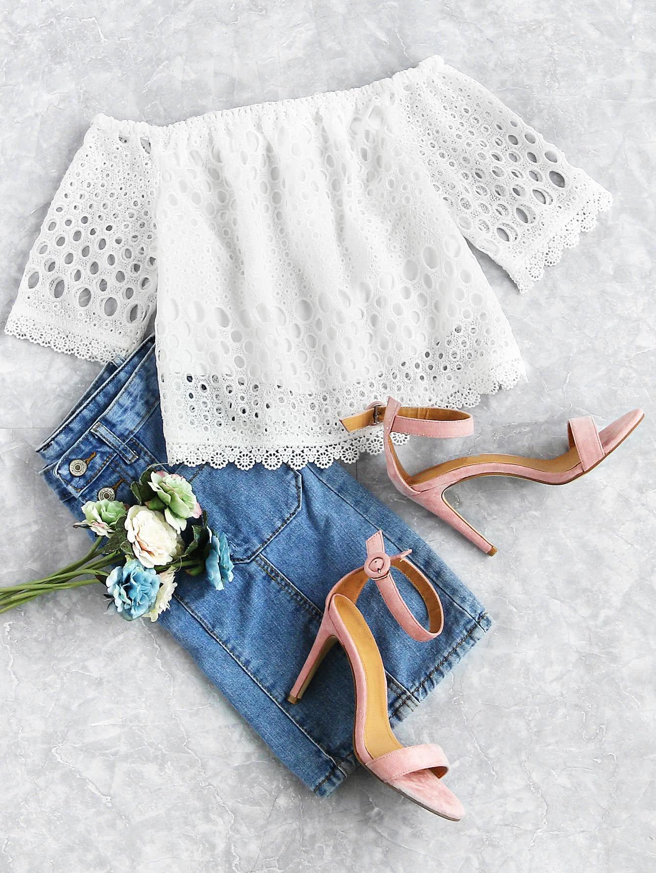 Фото Bardot Hollow Out Lace Top. Купить с доставкой