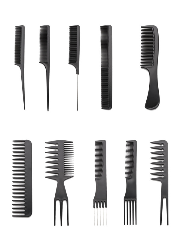 Multi Shaped Hair Comb Set 10pcs, null
