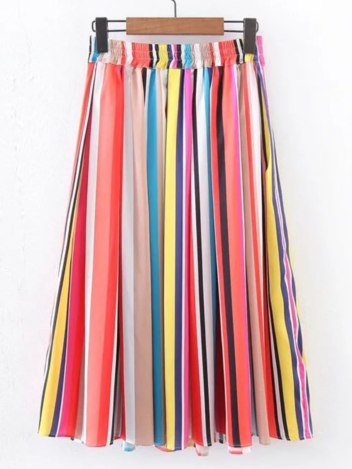 Rainbow Stripe Pleated Skirt Shein Sheinside