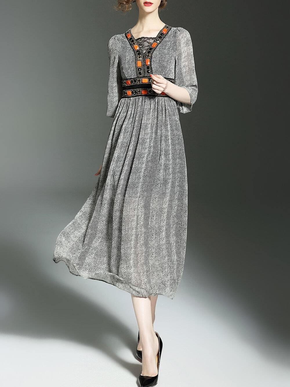 Фото Grey Contrast Lace Beading Long Dress. Купить с доставкой