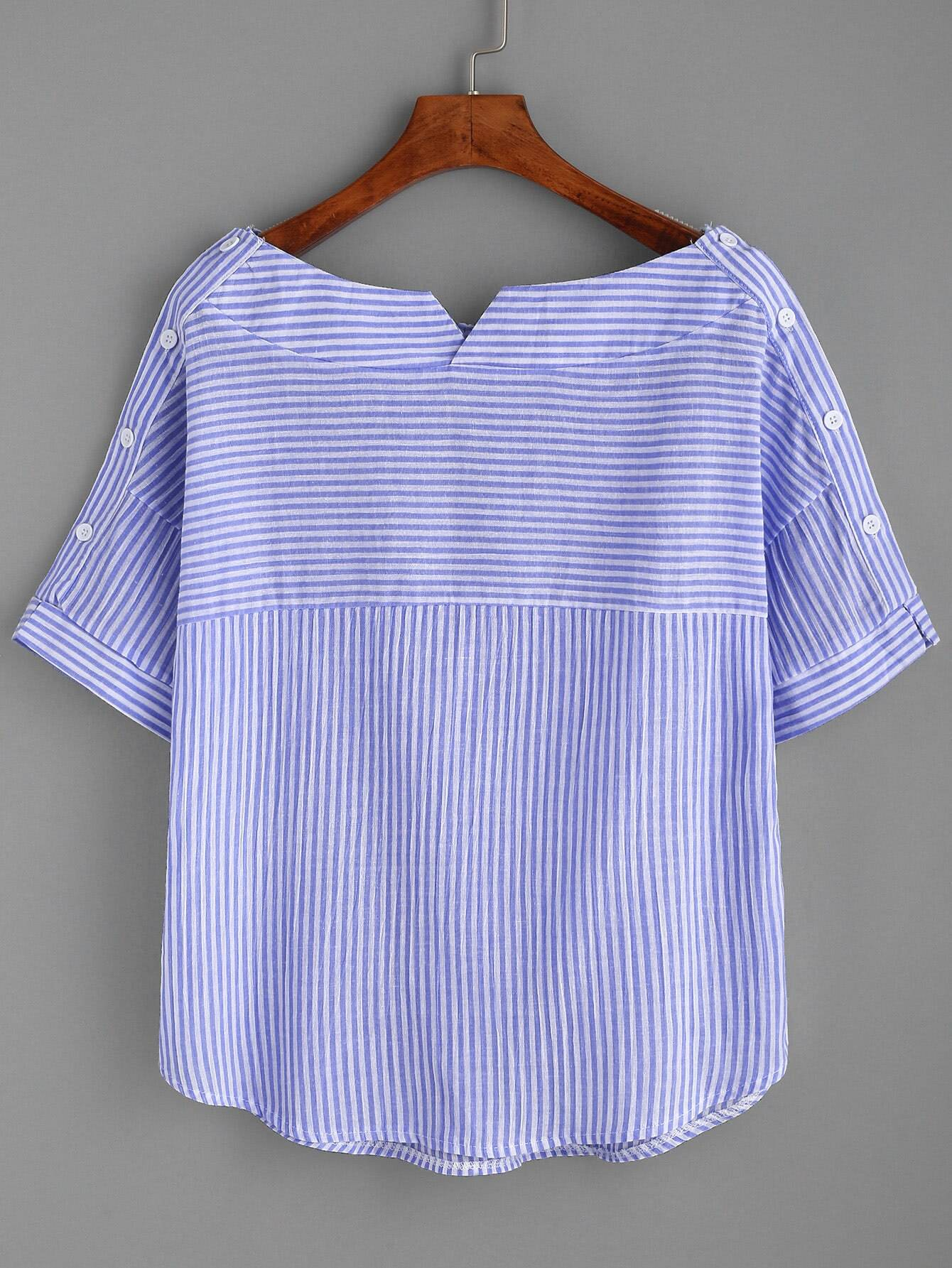 Boat Neckline Striped Blouse With Buttons boat neckline striped blouse with buttons