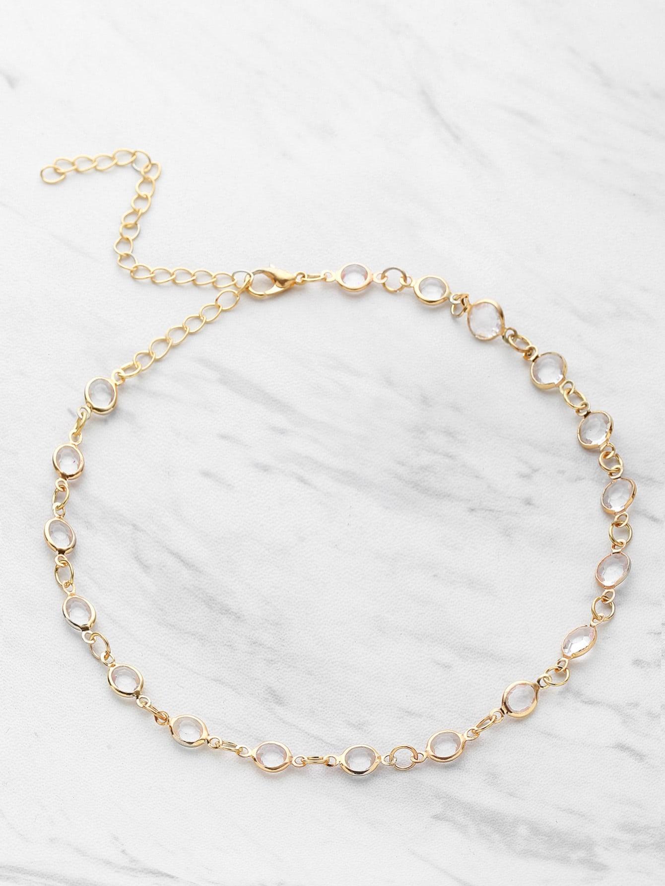 Фото Crystal Detail Delicate Choker Necklace. Купить с доставкой