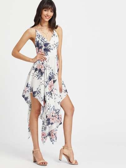 Floral Print Crisscross Back Asymmetrical Hem Slip Dress