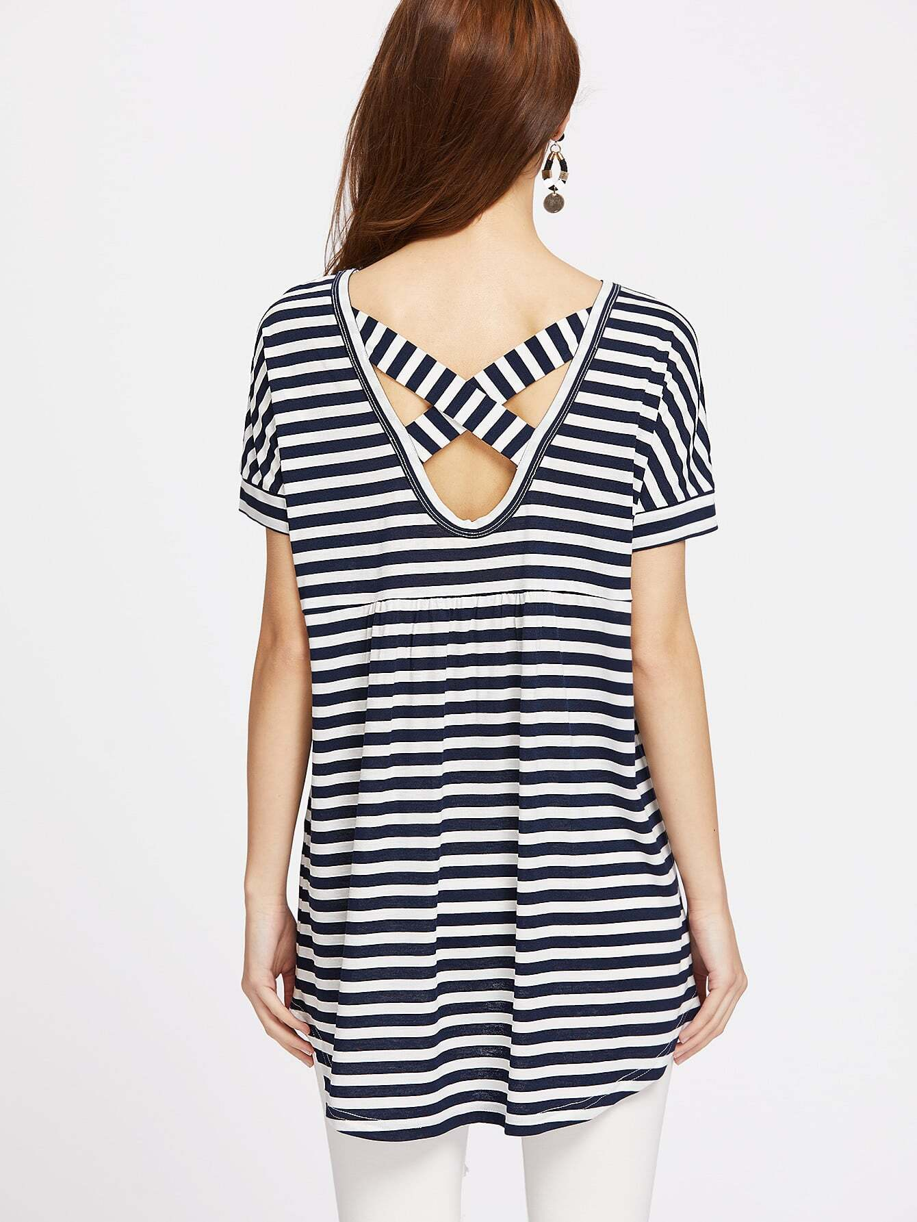Фото Crisscross V Back High Low Striped Tee. Купить с доставкой
