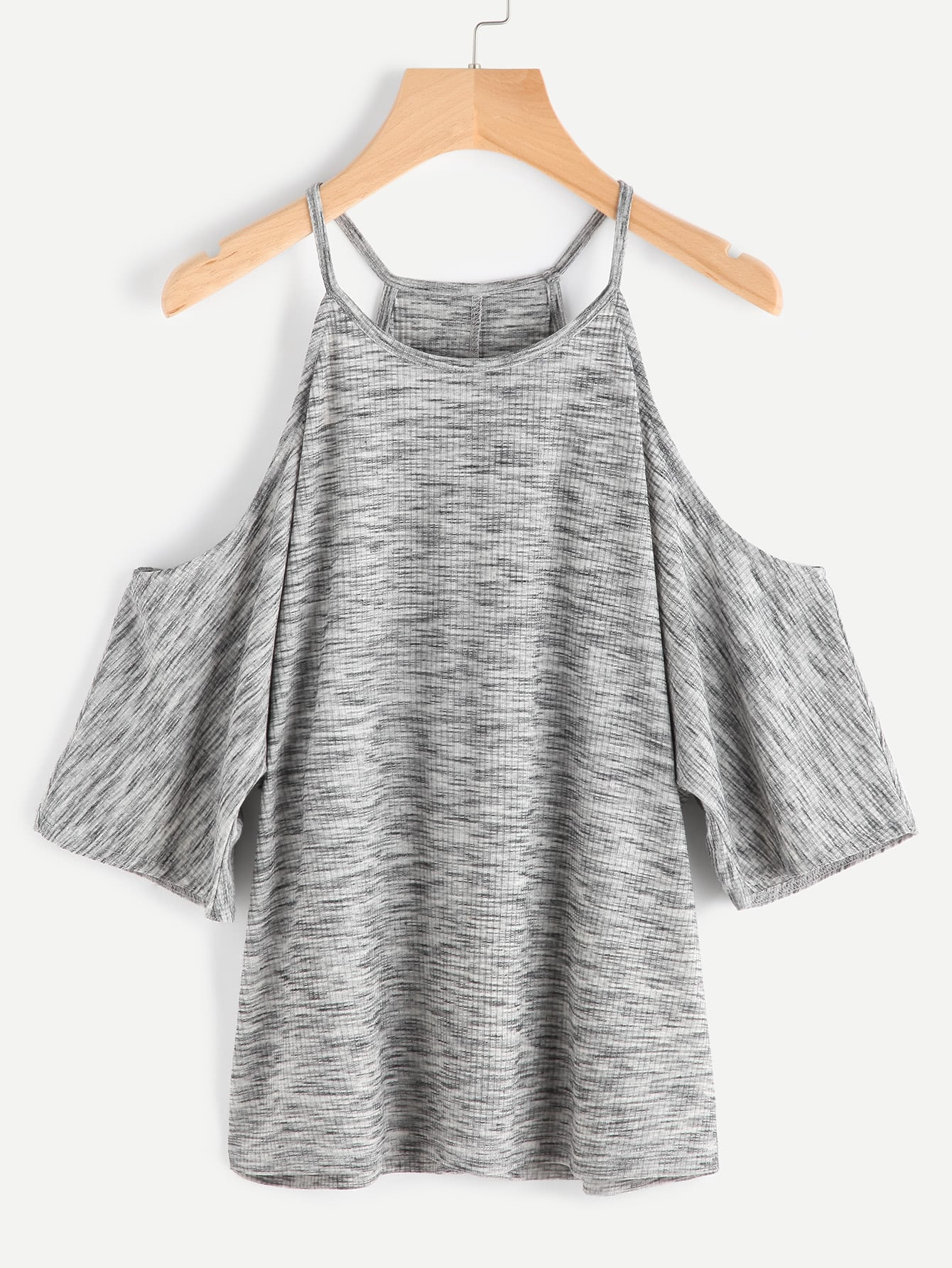 Cold Shoulder Space Dye Ribbed Tee tee170410705