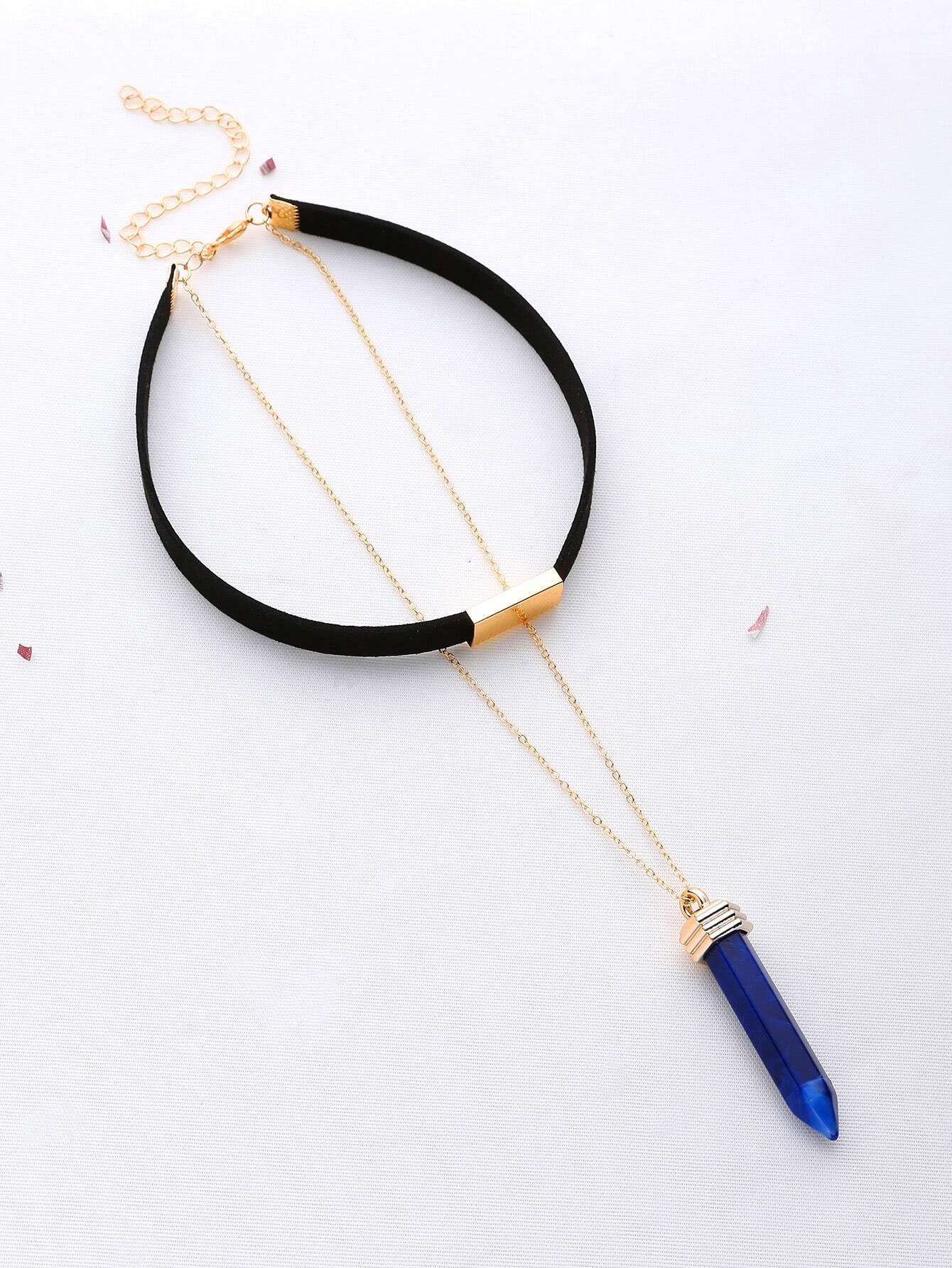 Фото Metal Detail Choker With Contrast Pendant Necklace. Купить с доставкой