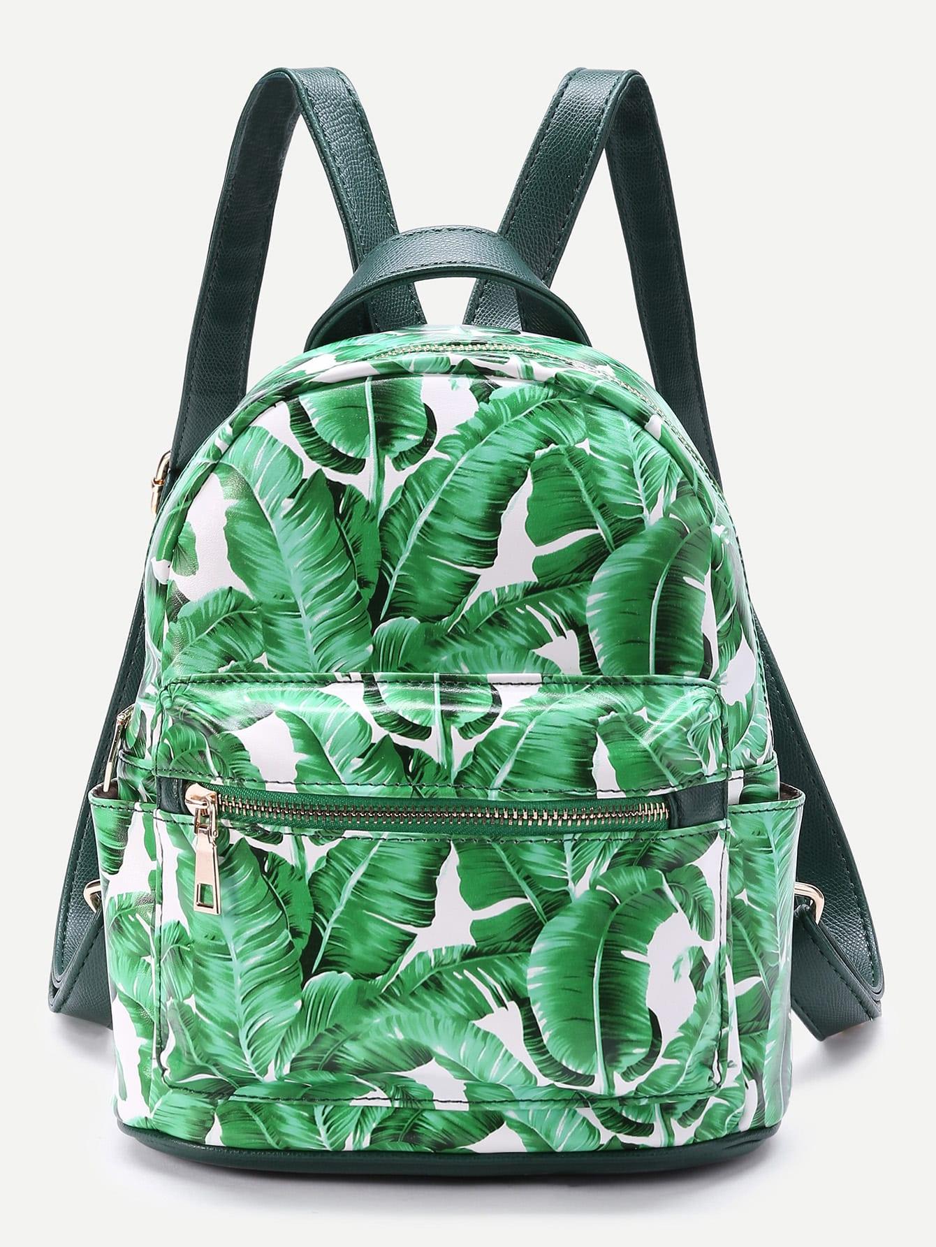 Фото Leaf Print Front Zipper Backpack. Купить с доставкой