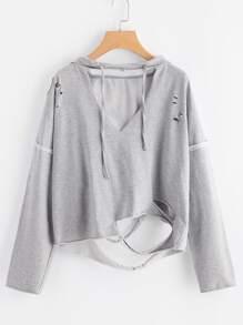Sweat à capuche avec ouverture cassé en V - gris