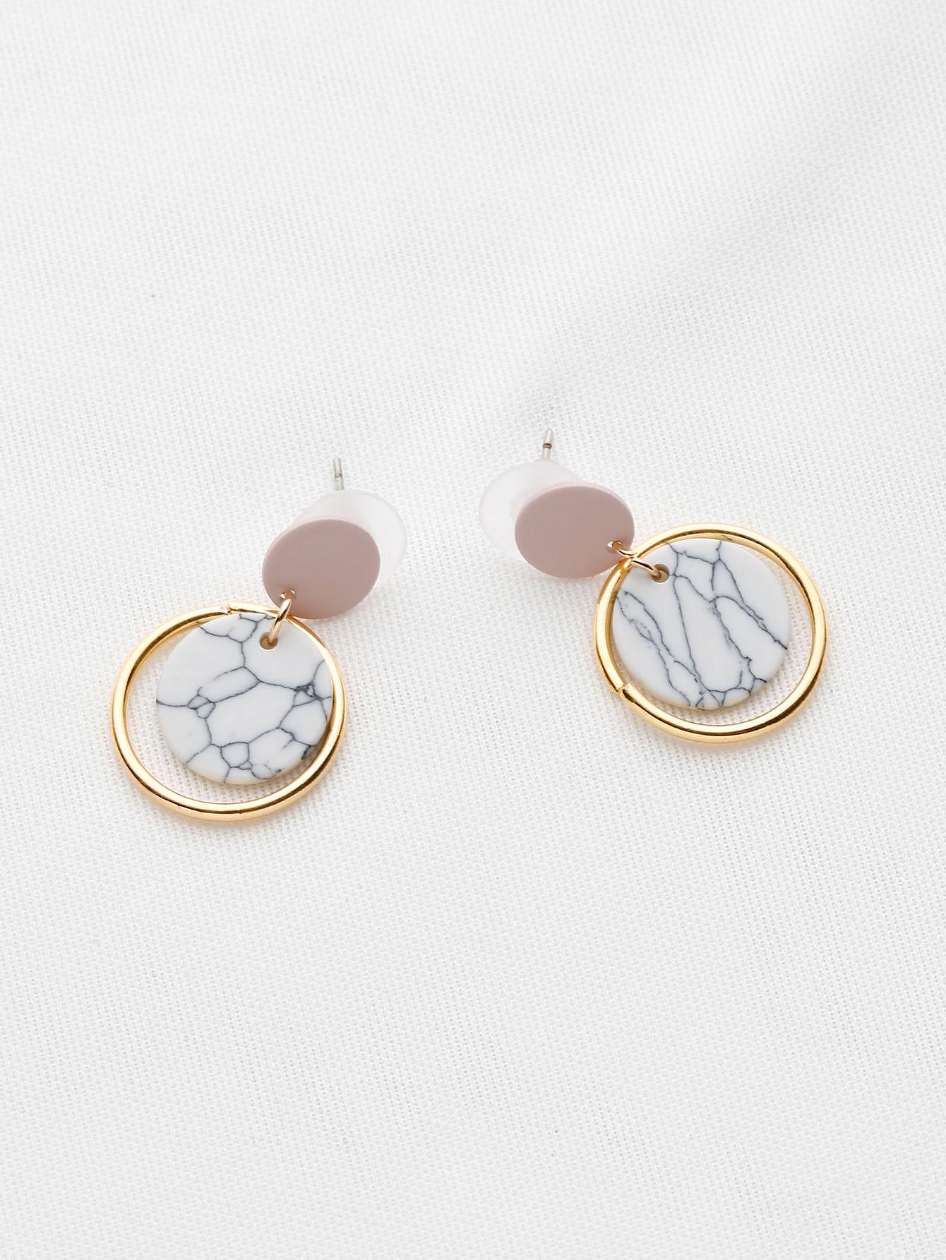Фото Marble Effect Ring Drop Earrings. Купить с доставкой