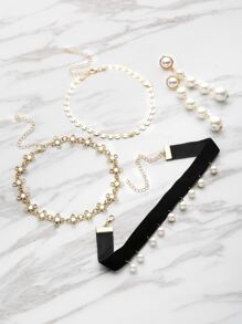 Faux Pearl And Rhinestone Detail Necklace With Earrings