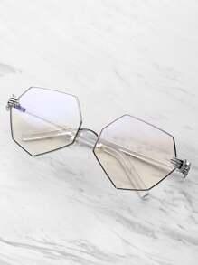 Gafas de polígono con detalle de palma y lentes transparentes